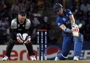 Englishman Luke Wright in  full flight against New Zealand. - Pic by Amila Gamage