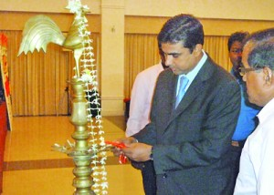 Mr. Amith Pusselewa – Chief Guest  and Director of Sasip, lighting the oil lamp