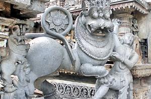 Sandula Lion at Belur: Similar to the lion at Yapahuwa