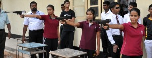 Devi Balika's Methsarani Lokuge (right) was adjudged the 'sharp shooter' in the girl's air rifle 10m event at the inaugural National Schools Shooting Championship held at Veyangoda.- Pic by Amila Gamage