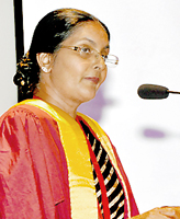 Dr. Susie Perera addresses the gathering after being inducted as the President of the College of Community Physicians on Friday. The Chief Guest at the ceremony was Health Minister Maithripala Sirisena and the Guest of Honour veteran lawyer and constitutional expert R.K.W. Goonesekere.