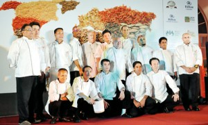 All aboard: The chefs from around the world at the launch of the festival at Mount Lavinia Hotel on Thursday