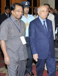 The HinduGovernor H.R. Bhardwaj (right) and G. Viswanathan, EPSI president,  arriving for a conference in Bangalore on Wednesday. Photo: Sampath Kumar G.P.