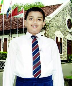 Master Kisara Kodithuwakku who obtained 1st rank in the island at the 2012 Grade 5 scholarship examination.