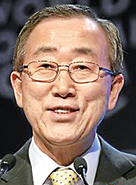 Ban Ki-moon  (China) 2007 – present:  The eighth and current Secretary-General of the United Nations succeeded Kofi Annan in 2007.  Ban has led several major reforms regarding peacekeeping and UN employment practices. Diplomatically, Ban has taken particularly strong views on Darfur, where he helped persuade Sudanese President Omar al-Bashir to allow peacekeeping troops to enter Sudan; and on global warming, pressing the issue repeatedly with former U.S. President George W. Bush.  He was unanimously re-elected for a second term and will serve till 2016.