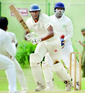 Royal's Sampath de Silva in action against St. Benedict's at Reid Avenue. - Pic by Amila Gamage