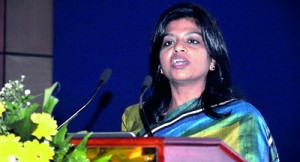 Premila Paulraj - Asst Vice President for Pearson, India and Subcontinent addressing the gathering