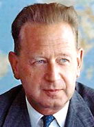 Dag Hammarskj�ld (Sweden), 1953 – 1961:  Hammarskj�ld was a Swedish diplomat, economist, and author. The second Secretary-General of the United Nations, he served from April 1953 until his death in a plane crash in September 1961, while on a peace mission in the Congo.  He is the only person to have been awarded a posthumous Nobel Peace Prize.