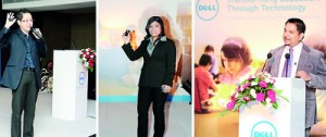 Seen (from left) - are Johny Dermawan, Senior Brand Manager for Dell Client Product Solutions; Rani Burchmore, Head of Dell's Education and Shermal Jayatilaka, Dell's Sri Lanka Country Manager