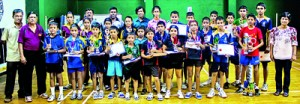 Champions and the Runners-up with the organizers and Chief Guest Wijesinghe Kumarage President of the National Services Table Tennis Association and Manager National Savings Bank