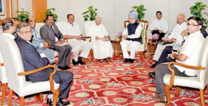 TNA leaders holding talks with Indian Prime Minister Manmohan Singh on October 11.
