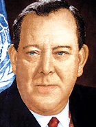 Trygve Lie (Norway), 1946 –1952:  On February 1, 1946. Mr. Lie was elected the first Secretary-General of the United Nations. He would resign in 1952, largely due to the Soviet Union's resentment of his support of UN military intervention in the Korean War.