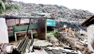 .... and a humble abode collapses as garbage comes tumbling down. Pix by Indika Handuwala