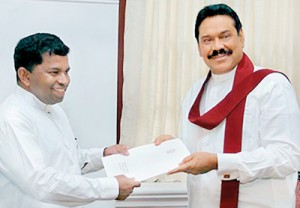 Former Eastern Province Chief Minister Sivanesathurai Chandrakanthan alias Pillayan  receiving his appointment letter as an Advisor to President Mahinda Rajapaksa.