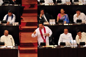 File photo shows President  Rajapaksa  at the reading of the Budget last year