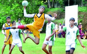 A player of Prince of Wales' College scores a goal against Isipathana, as they are battling on a title defence this year. - Pic by Ranjith Perera.
