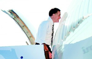 US Republican Presidential candidate Mitt Romney boards his campaign plane in Miami, Florida (AFP)
