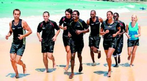 The eight indigenous Australians endured unusual training regimes. AFP.