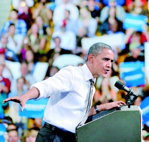 US President Barack Obama speaks during a campaign rally in Boulder, Colorado, on Thursday. Obama and his republican rival Mitt Romney sprinted back onto the campaign trail Thursday, touting rival visions for America to the faithful and the undecided just five days from polling day. AFP