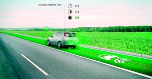Electric priority lane: Special lanes which will allow drivers of electric cars to recharge their vehicles as they travel are among the more ambitious ideas
