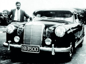 One of his much loved cars, the Mercedes Benz bearing his signature registration number '3500'