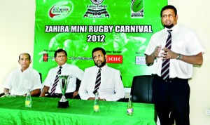 President of the ZOBRA, Nazeem Gaffoor addressing the gathering in the presence of Principal M.H. M. Jiffry, Sports Council Chairman Tony Amit and Rugby Committee Chairman Riza Abdeen.