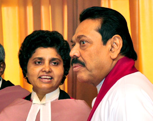 President Mahinda Rajapaksa with Chief Justice Shirani Bandaranayake soon after she was sworn in.