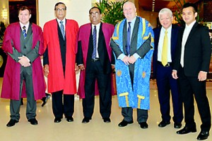 Ian Webster(Link Tutor:Coventry University),Gamini Jaysuriya(Head of Academics/ General Manager Auston Institute of Management Ceylon,Chief Guest Dr Sunil Jayantha Nawarathne(Secretary to Ministry of Higher Education),Pro-Vice Chancellor Coventry University Ian Dunn,Mr Lim & Mr Micheal Lin (Managing Director of Auston Institute of Management Ceylon and Auston Institute Singapore)