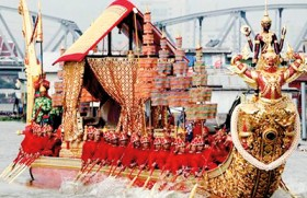 Thai royal barge procession at close of Buddhist Katina