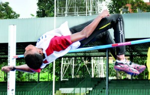 High jumper Manjula Kumara in action.  - Pics by Amila Gamage.