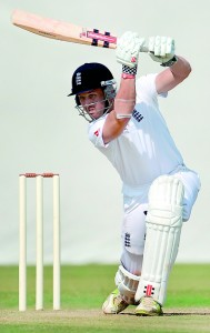 England batsman Nick Compton plays a shot during the third day of a four-day practice match between England and Haryana at The Sardar Patel Stadium ground B at Motera in Ahmedabad on November 10, 2012. The England cricket team plays a four Test series against India from November 15. AFP PHOTO/ PUNIT PARANJPE