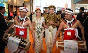Marriage in progress: Enacting the Sri Lankan traditional marriage ceremony at the World  Travel Mart in London.