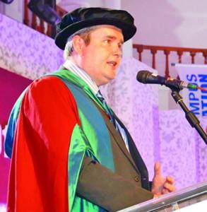 Dr. Christopher Wigginton, Assistant Dean Sheffild Hallam University, addressing the graduates