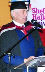Mr. Neil Hanney, Sheffiled Hallam University – UK, addressing the Dubai graduation ceremony