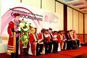 The graduation ceremony is declared open by Dr Azdhar Karami - Representative of the University of Wales