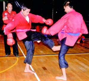 A fierce fight in progress at the Grading Test