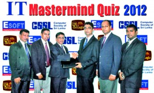 The Chairman of the ESOFT Higher Education Institute, Dr. Dayan Rajapaksa and Computer Society of Sri Lanka (CSSL) past President Chrishantha Silva exchanging the IT Mastermind Quiz Programme Memorandum of Understanding. In the picture (Left to right) are CSSL assistant treasurer, Bandara Disanayake, ESOFT International Education (PVT) Limited Chief Executive Officer Dr. Prasanna Lokuge, CSSL past President Chrishantha Silva, ESOFT Chairman Dr. Dayan Rajapaksa, CSSL present President Mahesh Perera, ESOFT, Director Nishan Sembakuttiarachchi.