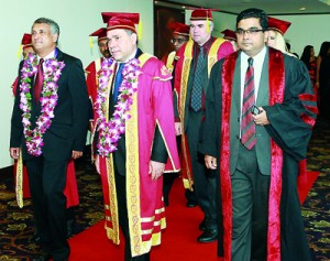 The Academic procession followed by the Chief guest, University of Wales representatives and IIHE officials