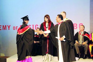 AOD's first class graduate Lonali Rodrigo receving Northumbria design degree from Hon. Minister of Higher Education  S.B. Dissanayake
