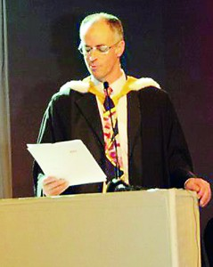 Northumbria's Executive Dean Prof. Steven Kyffin  addressing to AOD graduates