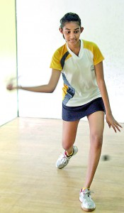 Reigning Under-13 Girl's Junior champ Kasuni Gunawardena in action yesterday. - Pic by Indika Handuwala.
