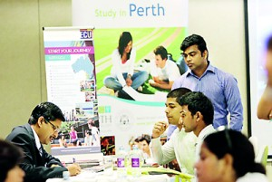 Krishna Prasad of Edith Cowan University talking to students