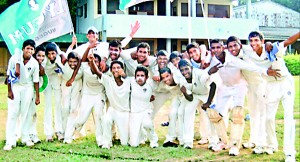 The jubilant Lyceum Nugegoda Under-15 cricketers after their victory.