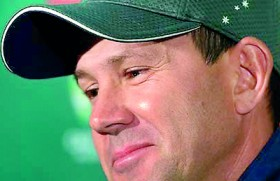Ponting walks out of the dressing room