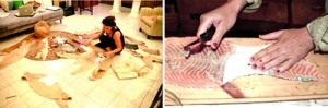 Jenny working on fish skin