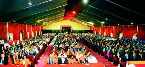 Large gathering of guests, parents, family members and invitees of those who received awards.