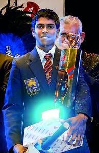 Last year's winner, Niroshan Dikwella of Trinity College.