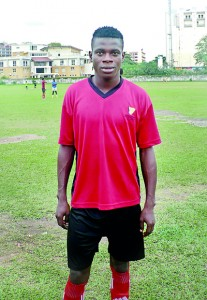 Adinuba Frank the CFC forward who sparkled with a hat-trick in their 4-0 win  over Kandy York SC at Bogambara Stadium recently.