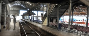 The ususally bustling Colombo Fort Railway Station was like a ghost town. Pix by Mangala Weerasekera