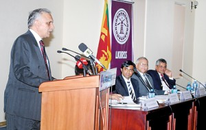 Dr. Gupta delivering his lecture on Wednesday. Picture courtesy www. kadirgamarinstitute.lk